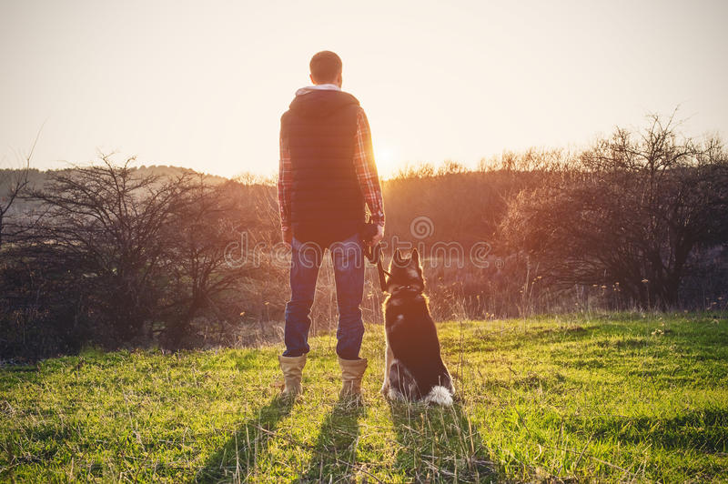 A man with a beard walking his dog in the nature, standing with a backlight at the rising sun, casting a warm glow and. Long shadows against the background of royalty free stock images