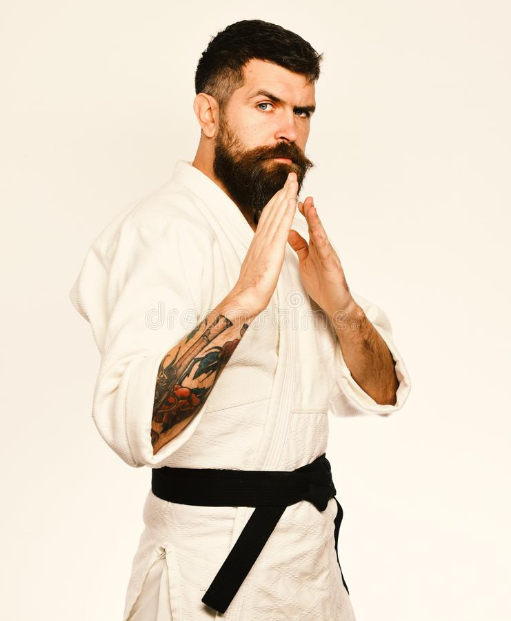 Man with beard in white kimono on white background. Taekwondo master with black belt practices attack or defense. Posture. Healthy lifestyle and sports concept royalty free stock photography