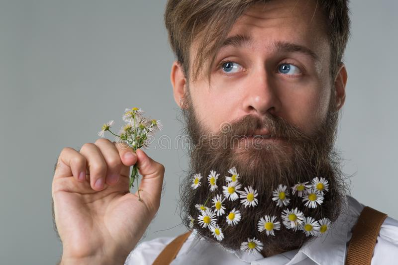 Man with beard in white shirt and suspenders royalty free stock images