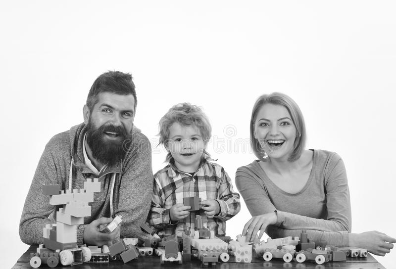 Man with beard, woman and boy play on white background royalty free stock photos