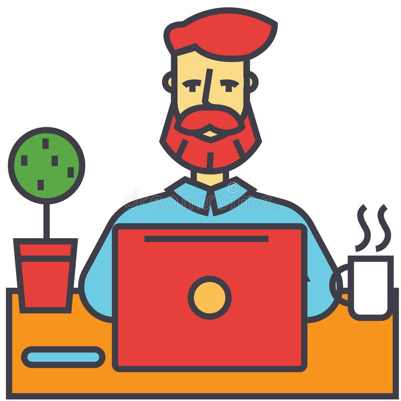 Man with beard working on notebook computer, businessman, make money online, education, freelance concept. stock illustration