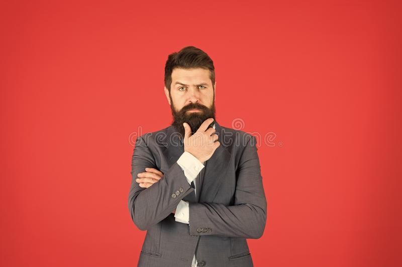 Man bearded businessman thoughtful face solving problem making decision. Decision making is part of management. Mental. Process of choosing from set of stock photos