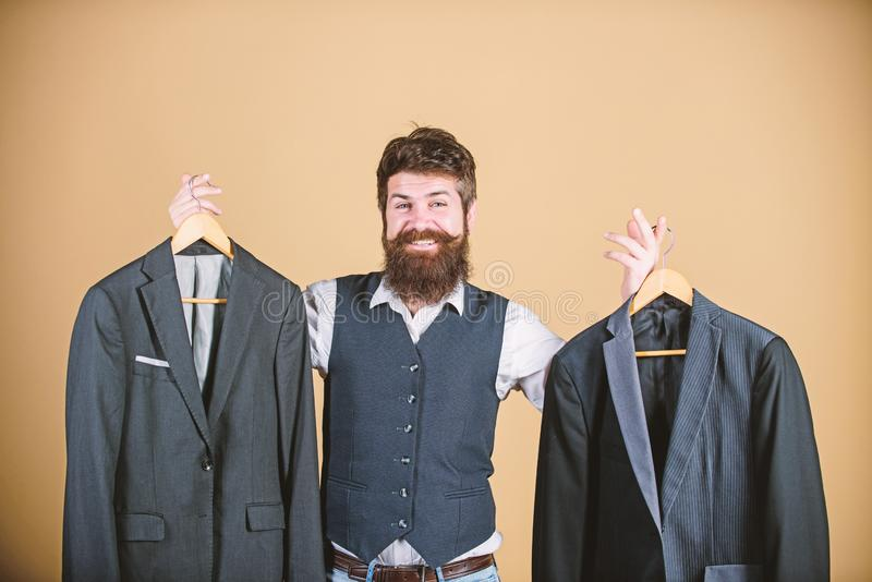 Man bearded fashion couturier tailor. Elegant custom outfit. Tailoring and clothes design. Perfect fit. Custom made to stock photography