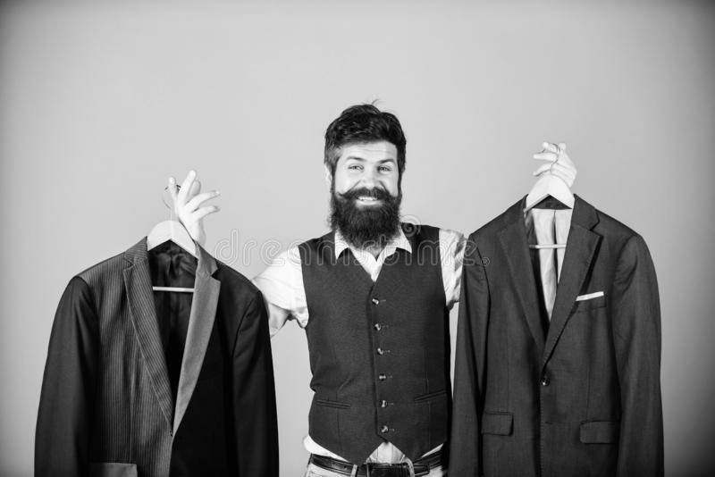 Man bearded fashion couturier tailor. Elegant custom outfit. Tailoring and clothes design. Perfect fit. Custom made to stock photo
