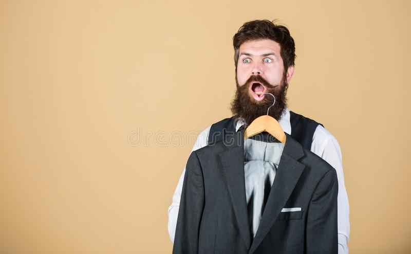Man bearded fashion couturier tailor. Elegant custom suit. Tailoring and clothes design. Perfect fit. Custom made to royalty free stock images
