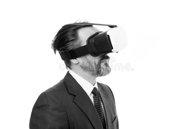 Man bearded formal suit. Digital and cyber technologies. Experimental experience. Business innovation. Vr presentation. Man vr hmd modern technology. Virtual stock image