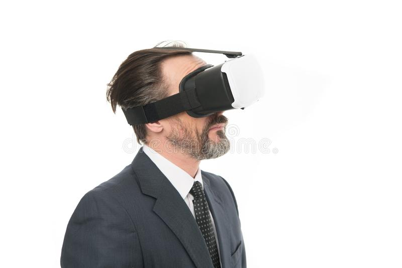 Man bearded formal suit. Digital and cyber technologies. Experimental experience. Business innovation. Vr presentation. Man vr hmd modern technology. Virtual royalty free stock photos