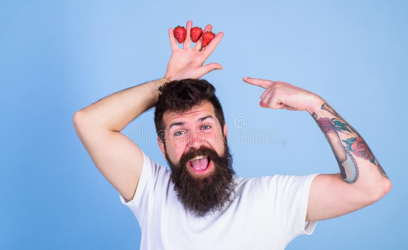 Man bearded hipster holds hand with strawberries above head as crown. Hipster happy bearded face with crown. Strawberry. King concept. Man successful gardener stock photo