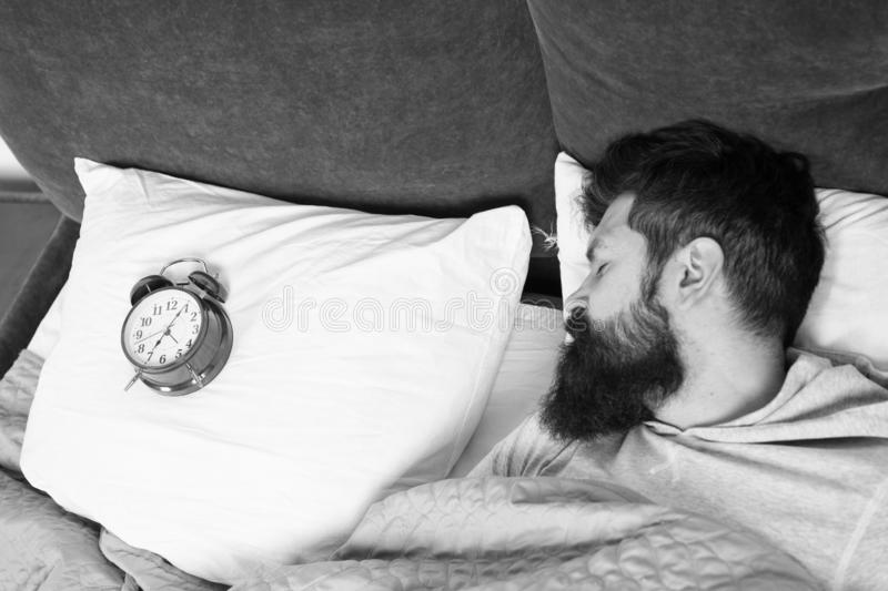 Man bearded hipster sleepy face in bed with alarm clock. Problem with early morning awakening. Get up with alarm clock. Overslept again. Tips for waking up royalty free stock photos