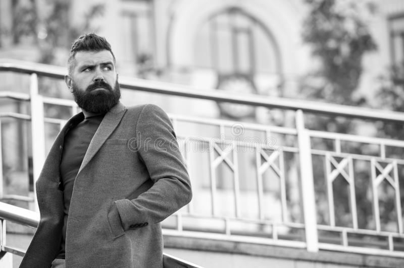 Man bearded hipster stylish appearance waiting someone. Confident hipster. Hipster confident waiting meeting outdoors stock photography