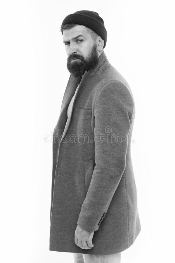 Man bearded hipster stylish fashionable coat and hat. Stylish outfit hat accessory. Pick matching clothes. Find outfit. Style you feel comfortable. Stylish stock photos