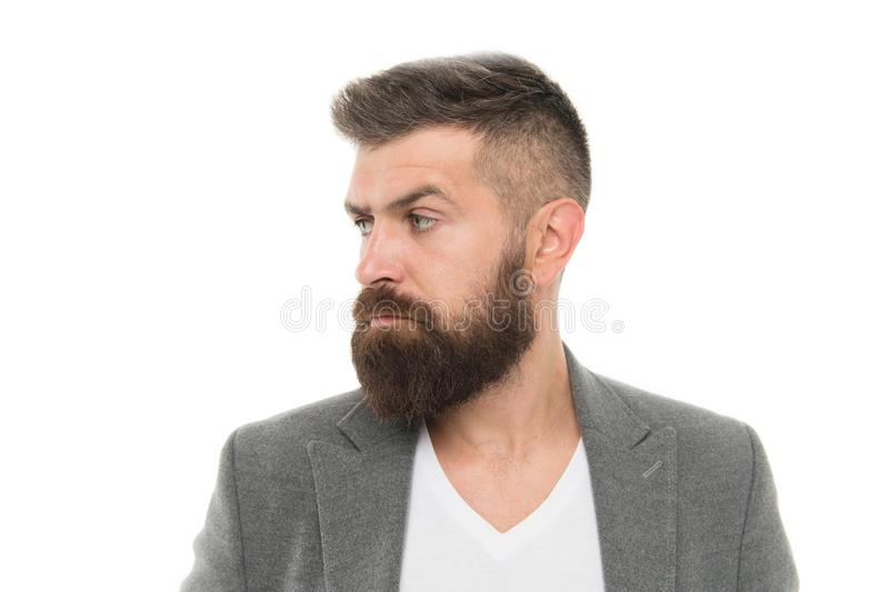 Man bearded hipster stylish fashionable jacket. Casual jacket perfect for any occasion. Feeling comfortable in natural royalty free stock image