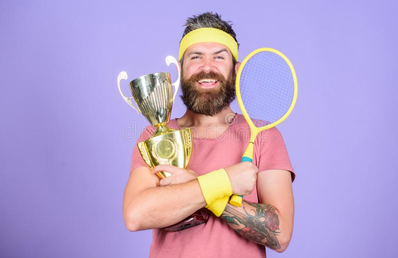 Man bearded hipster wear sport outfit. Success and achievement. Win tennis game. Win every tennis match i take part in. Tennis player win championship. Athlete stock photography