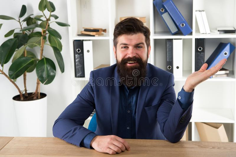 Man bearded hr manager sit in office ask interview. Job interview concept. Can you tell me about yourself. Leave lasting royalty free stock images