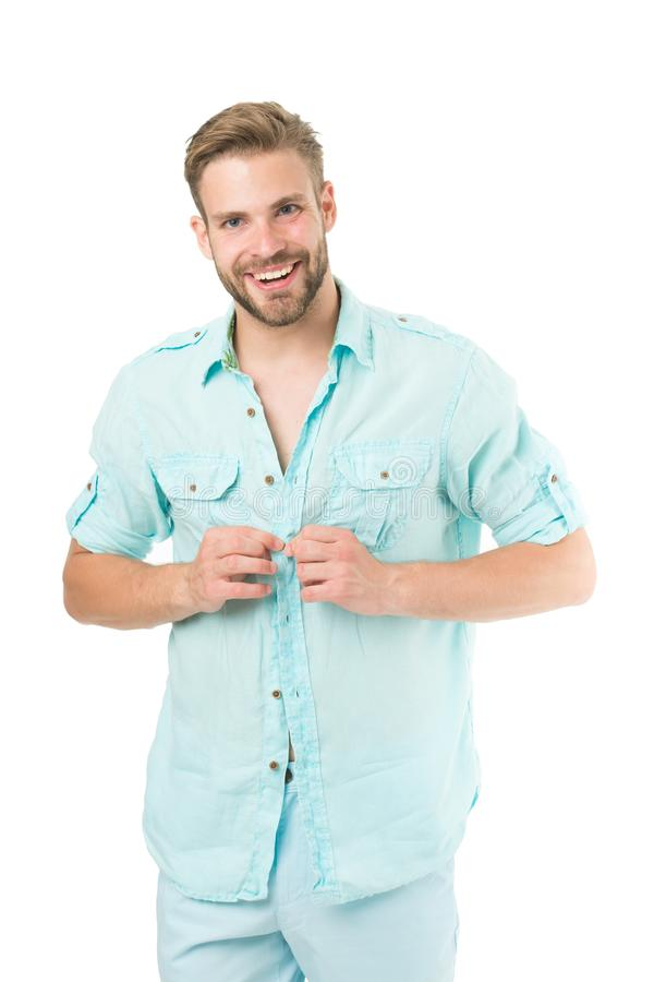 Man bearded macho prepare clothes for date. Casual comfortable style. Fresh shirt concept. Style inspiration and advice. Casual style outfit. Confident with royalty free stock photography