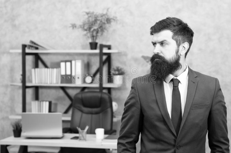 Man bearded serious office background. Provide consultation to management on strategic staffing plans. Office staff. HR stock photos