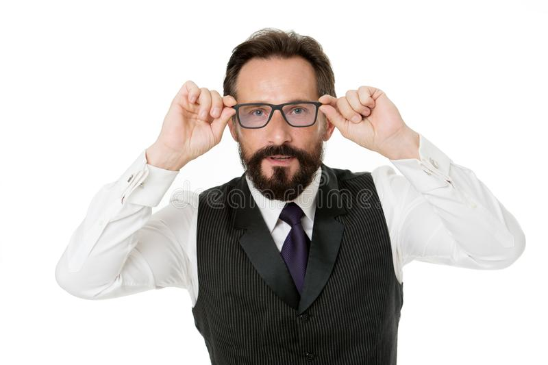 Man bearded wear eyeglasses isolated white. Businessman teacher adjust eyeglasses. Take look concept. Business analysis stock photos