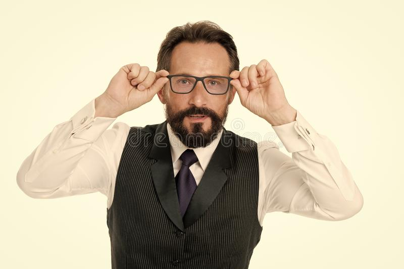 Man bearded wear eyeglasses isolated white. Businessman teacher adjust eyeglasses. Take look concept. Business analysis. And analytical skills. Eyeglasses stock photography