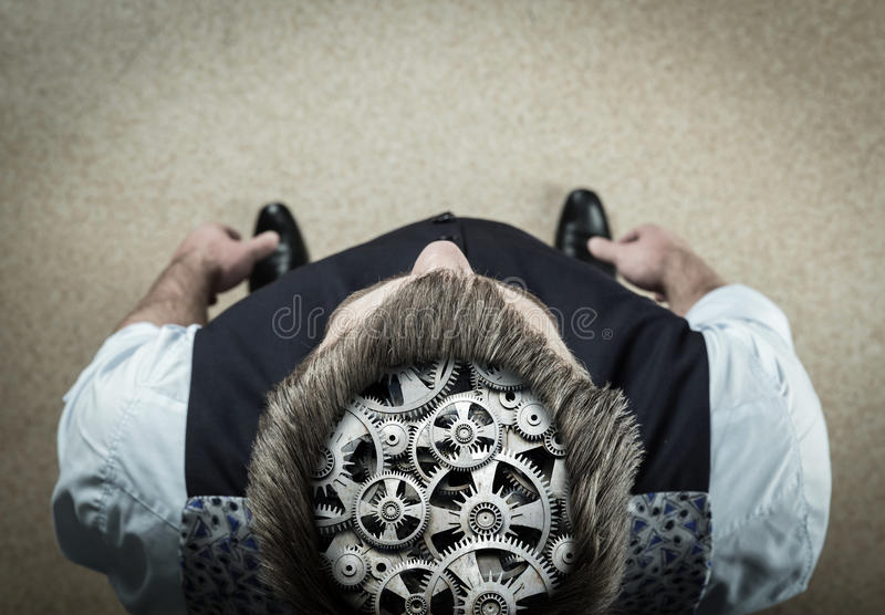 Man with bearing in his brain royalty free stock photography