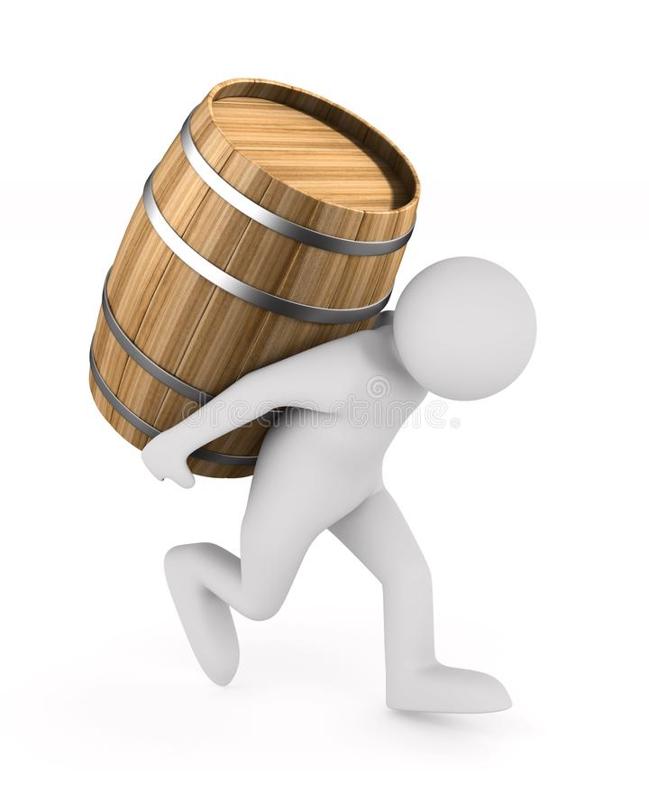 Man bears barrel on white background. Isolated 3D illustration.  vector illustration
