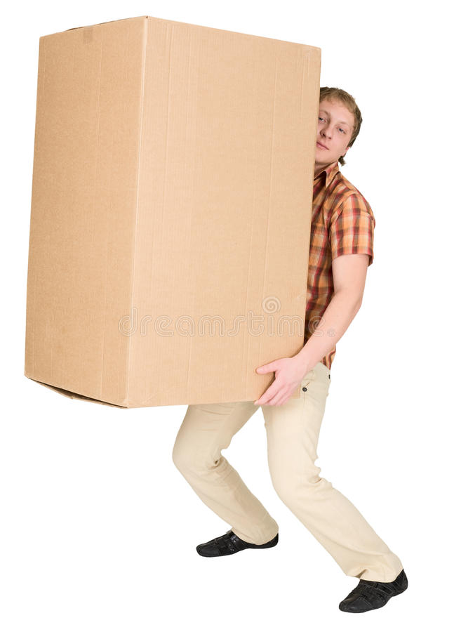Download Man Bears The Big Heavy Cardboard Box Stock Image - Image: 9543957