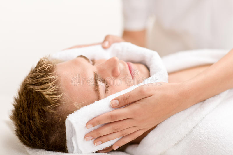 Man beauty - man at luxury spa treatment royalty free stock photos