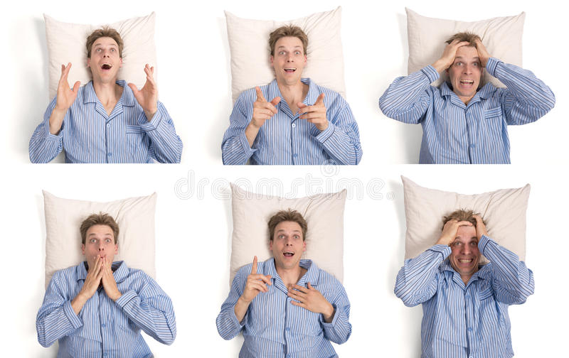 Man in bed showing different expressions. Man in bed in pajama's showing different expressions, stress, scared, frightened, idea royalty free stock photos