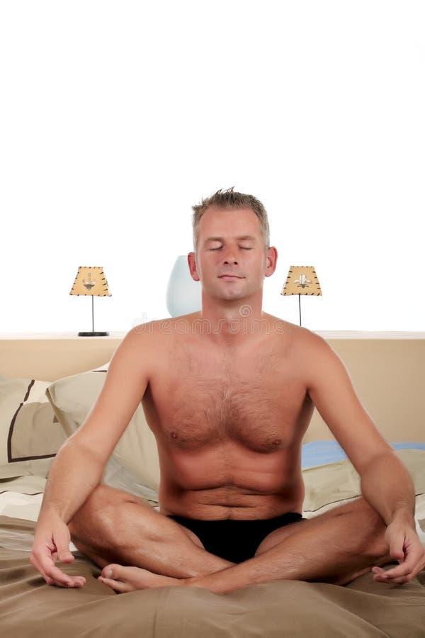 Download Man bedroom yoga stock image. Image of spiritual, groom - 11193151