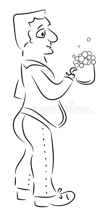 Download Man and beer stock vector. Image of alcohol, draw, illustrations - 8060532