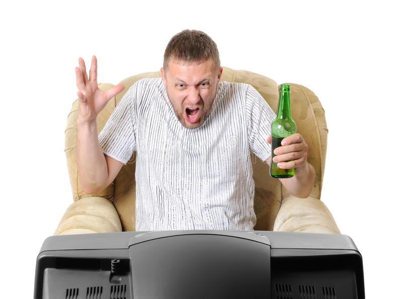 Download Man With Beer In An Armchair Watches TV Stock Photo - Image: 16557684
