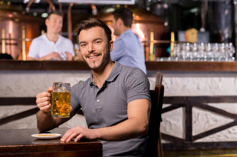 Man in beer pub. royalty free stock photos