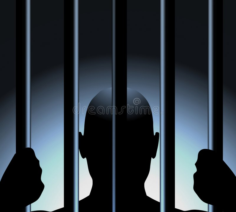 Free Man Behind Bars Of Prison Royalty Free Stock Images - 4542409