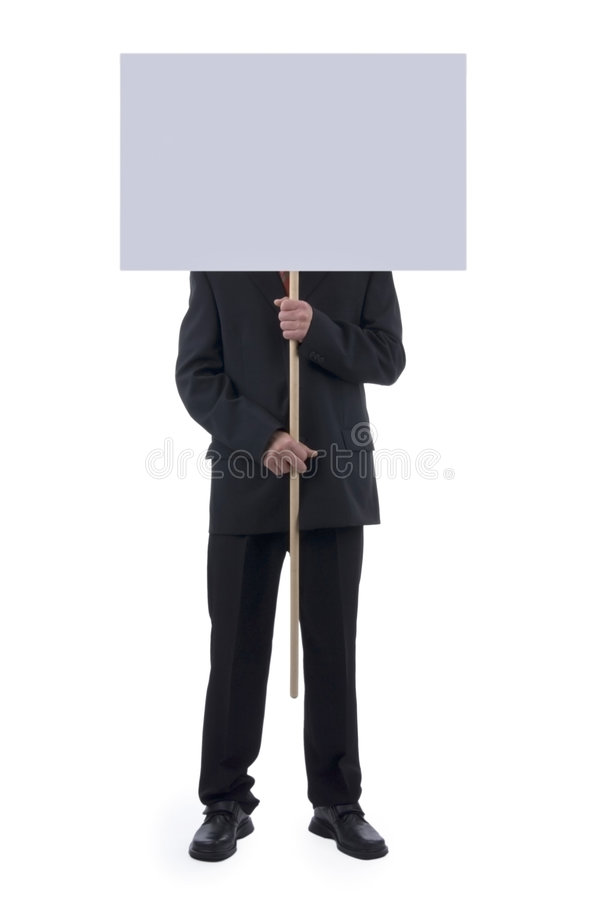 Man behind blank description. royalty free stock images
