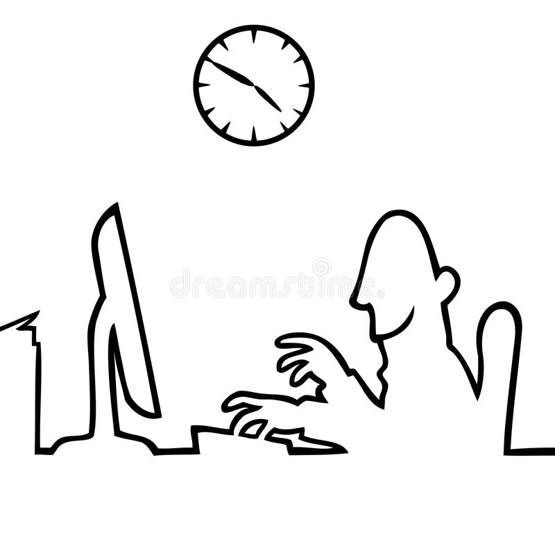 Download Man Behind A Computer Working 9 To 5 Stock Vector - Illustration: 16614725