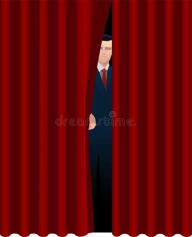 Download Man Behind Curtain Stock Illustration   Image: 47052684