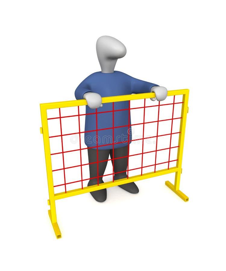 Man behind the fence stock photos