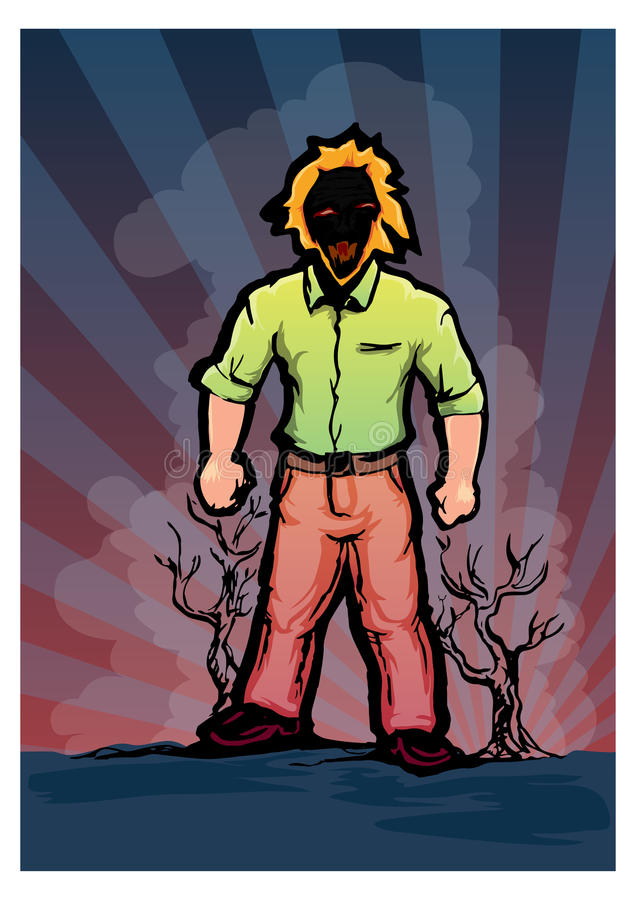 Man behind nature damage. Hand draw illustration of figure standing with dry trunk of tree and dark shady background