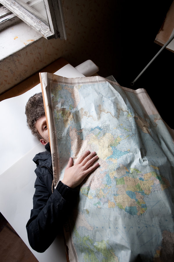 Download Man Behind Russian Map stock photo. Image of obscured - 9224634