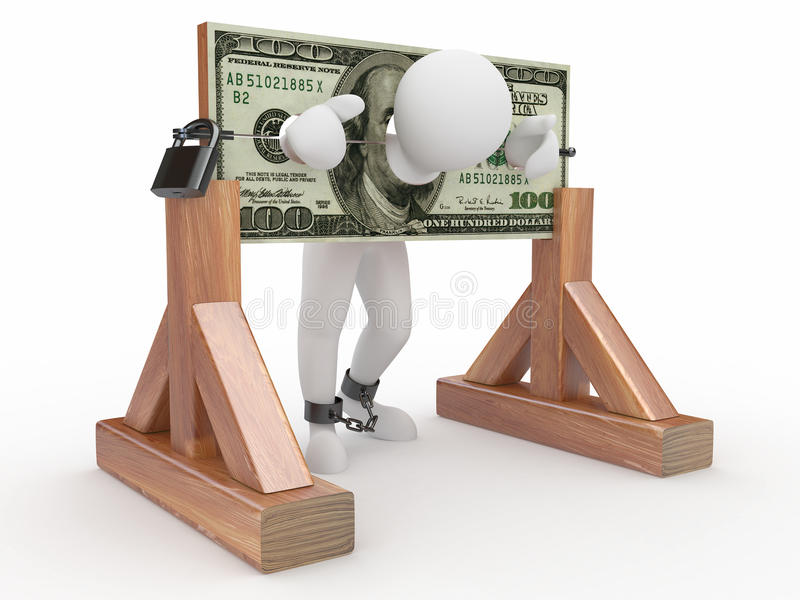 Man being held hostage by money vector illustration