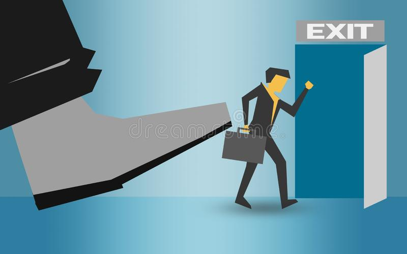 Man being kicked out, layoff concept. 3D rendering stock illustration