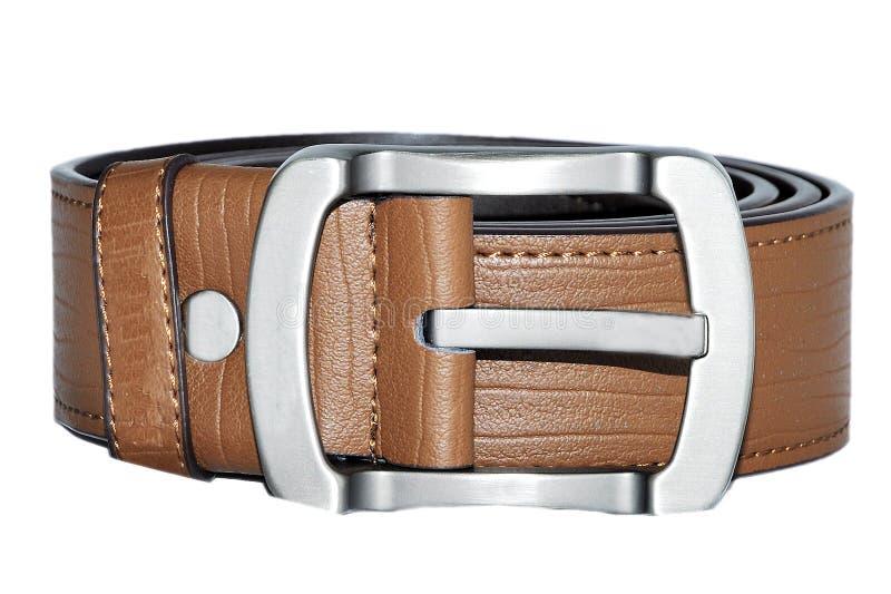 Man belt. Lying on the whit background royalty free stock photo