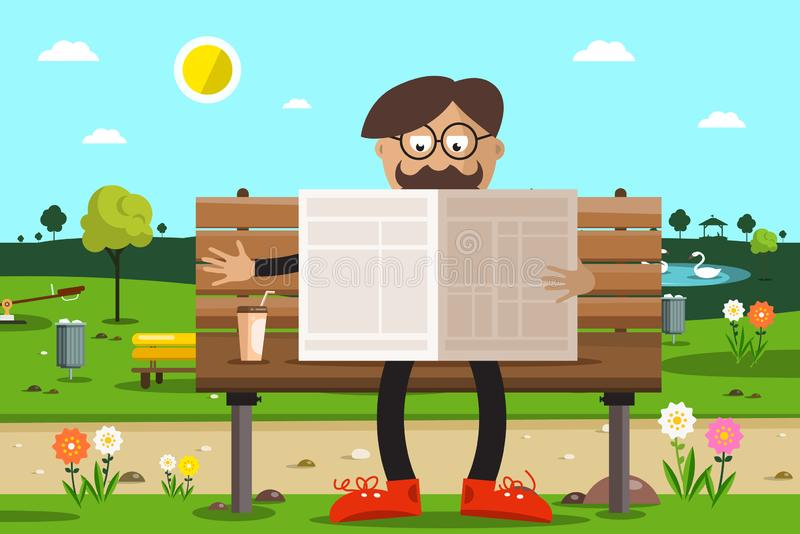 Man on Bench in Park Reading Newspapers. With Coffee stock illustration