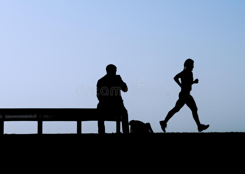 Download Man On Bench Watches Jogger Stock Image - Image: 19051177