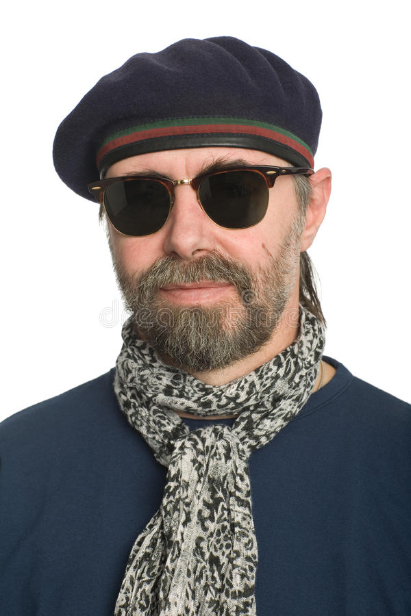 Download Man in a beret stock image. Image of serious, adult, mustache - 17304435