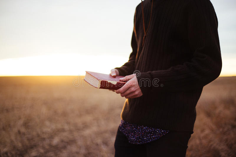 Man With Bible In Field Free Public Domain Cc0 Image