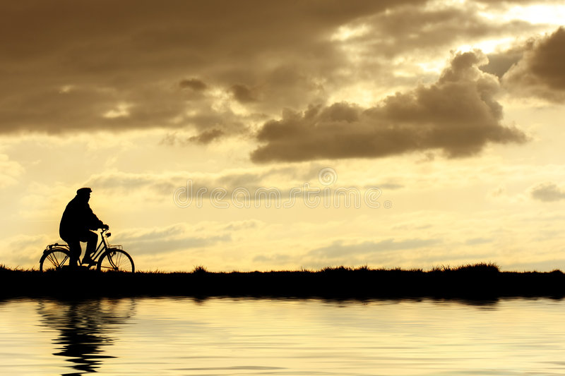Man on bicycle royalty free stock images