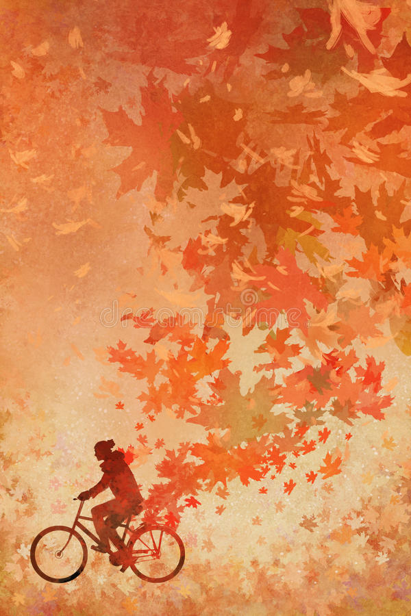 Man on bicycle with falling autumn leaves on background. Silhouette of man on bicycle with falling autumn leaves on background,illustration painting royalty free illustration