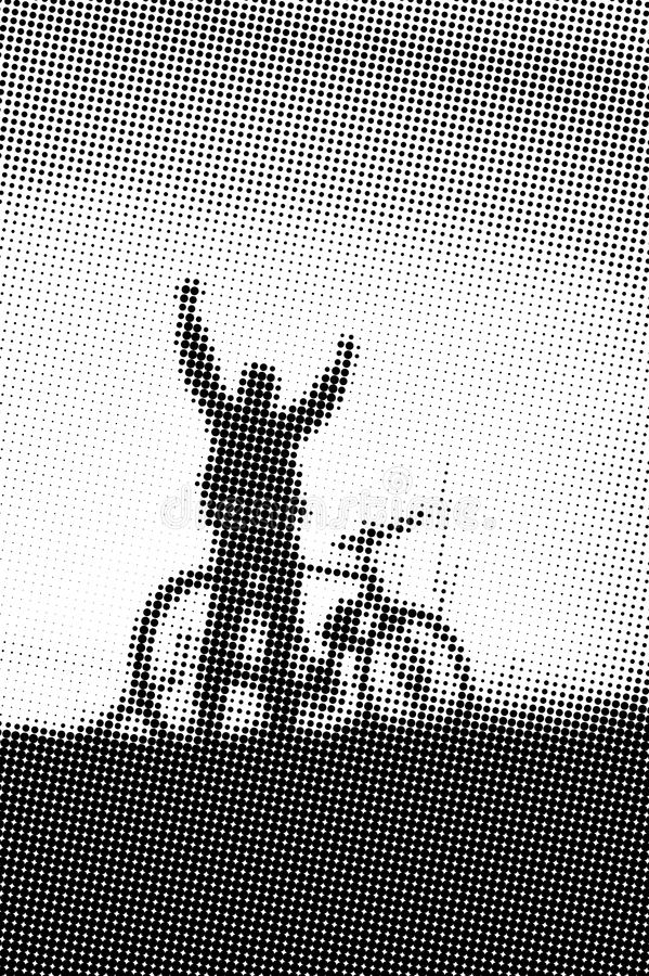 Man with bicycle at sunset - monochrome halftone pattern background royalty free illustration