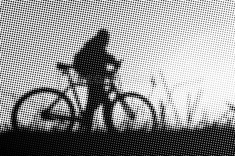 Man with bicycle at sunset - monochrome halftone pattern background stock illustration
