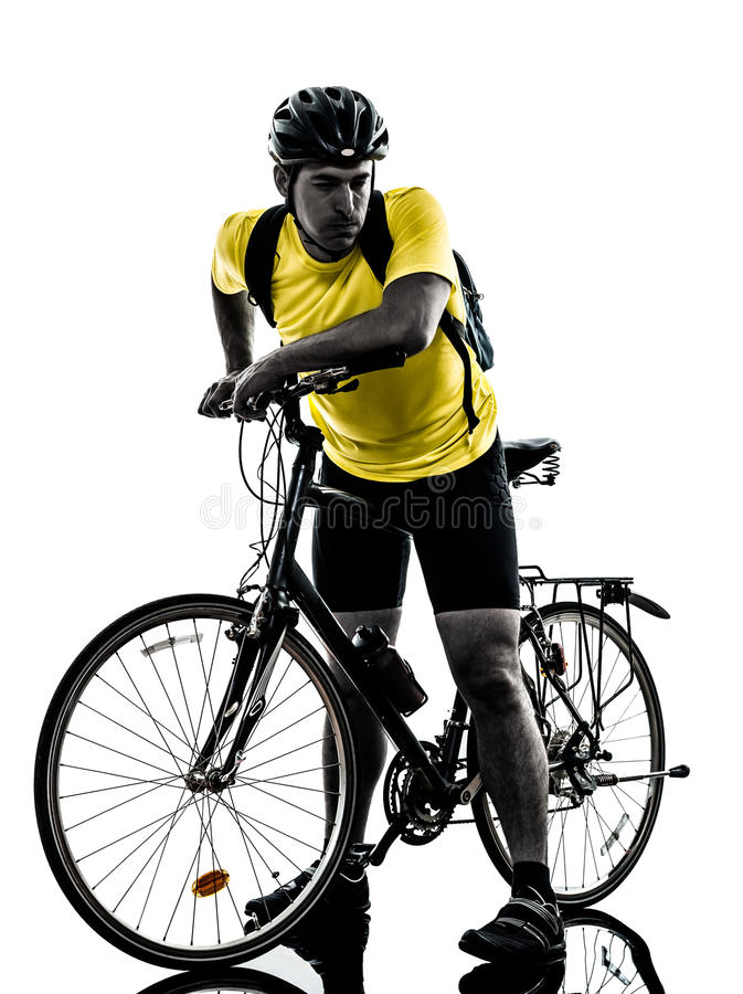 Download Man Bicycling  Mountain Bike Tired Breathless Silhouette Stock Photo - Image: 33879330